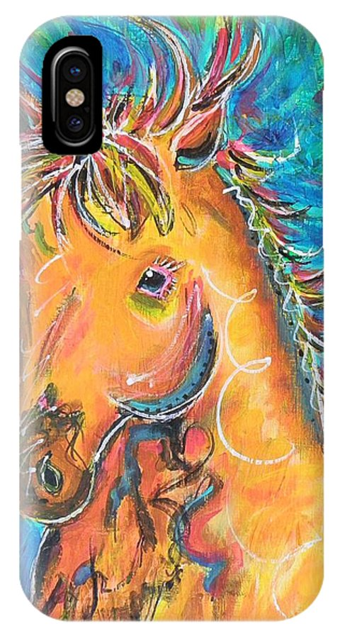 Horse IPhone X Case featuring the painting Dreamhorse by Amanda Pierce