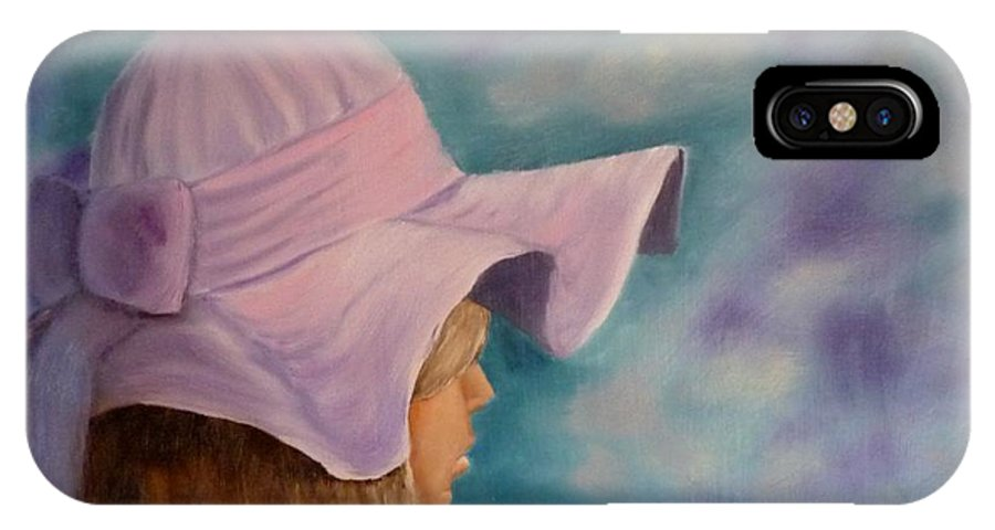 Girl IPhone X Case featuring the painting Dreaming by Beverly Hanni