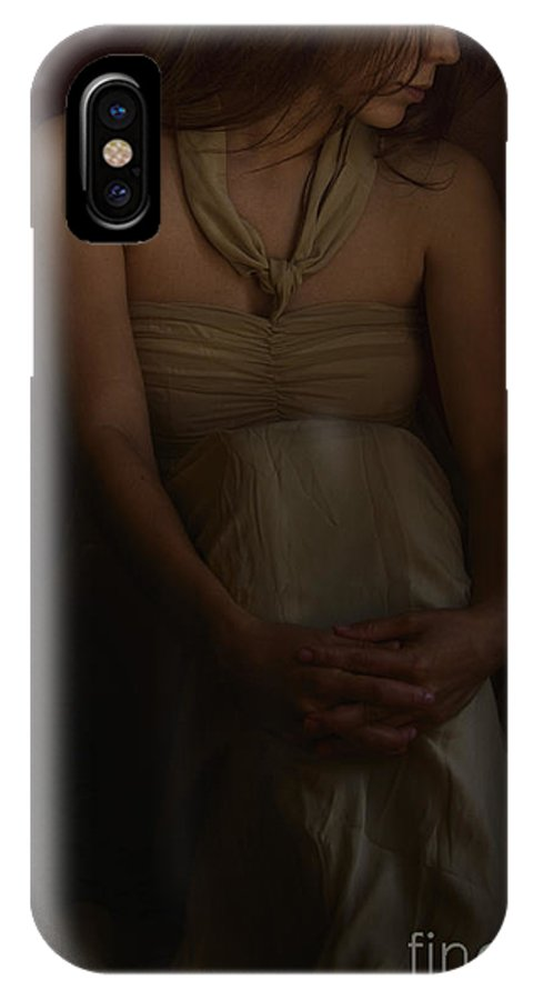 Caucasian; Woman; Lady; Female; Pretty; Beautiful; Brunette; Gold; Golden; Dress; Prim; Proper; Feminine; In Thought; Thinking; Sad; Dark; Darkness; Sitting; Corner; Shadows; Shroud IPhone X Case featuring the photograph Dreams by Margie Hurwich