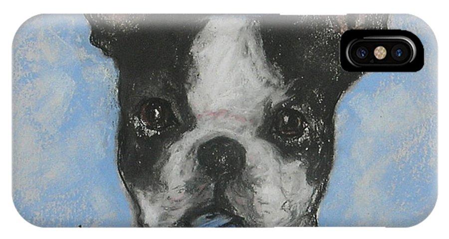 Boston Terrier IPhone X Case featuring the drawing Dreideler by Cori Solomon