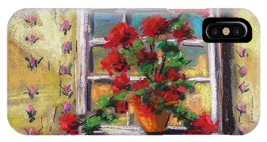 Red Flower IPhone X Case featuring the painting Dressing Room Window by John Williams