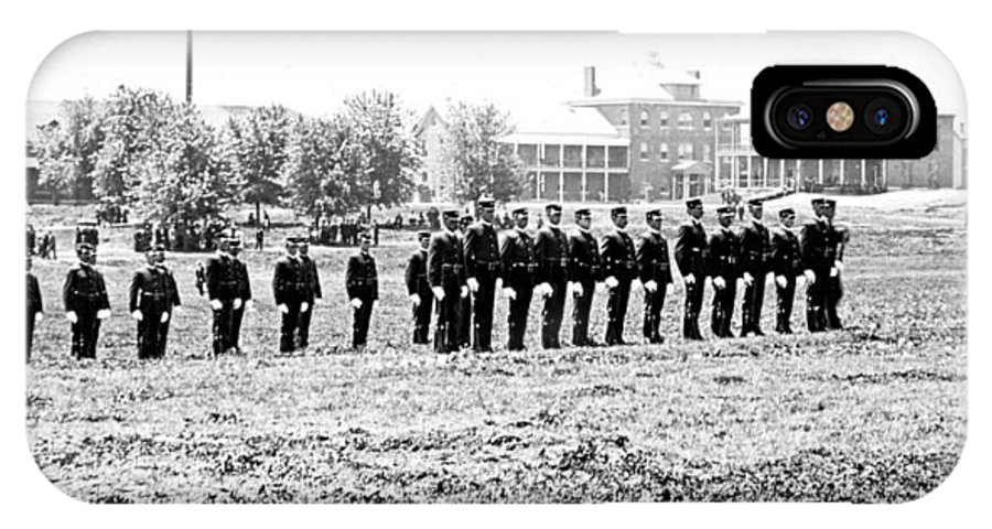 Drill IPhone X Case featuring the photograph Drilling Soldiers Jefferson Barracks Us Army C 1895 by A Gurmankin