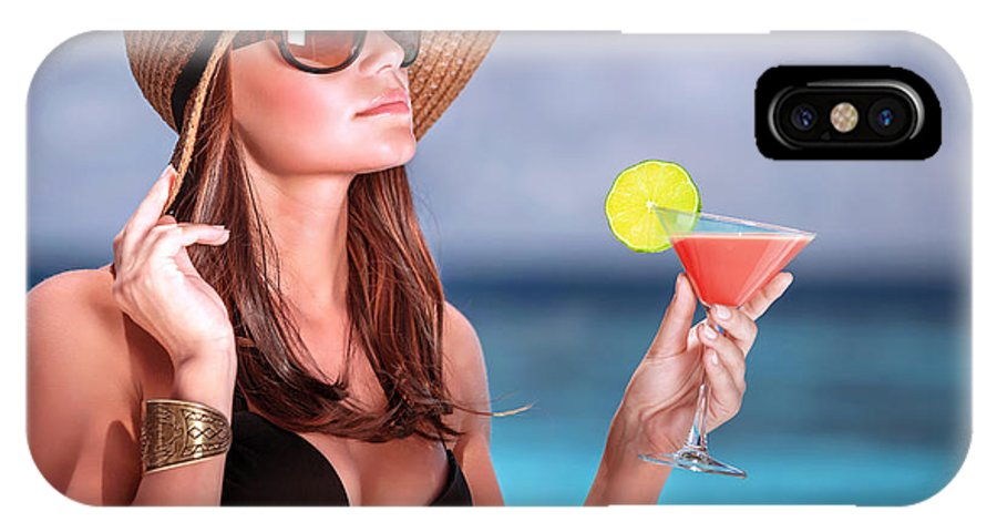 Maldives IPhone X Case featuring the photograph Drink Cocktail On The Beach by Anna Om