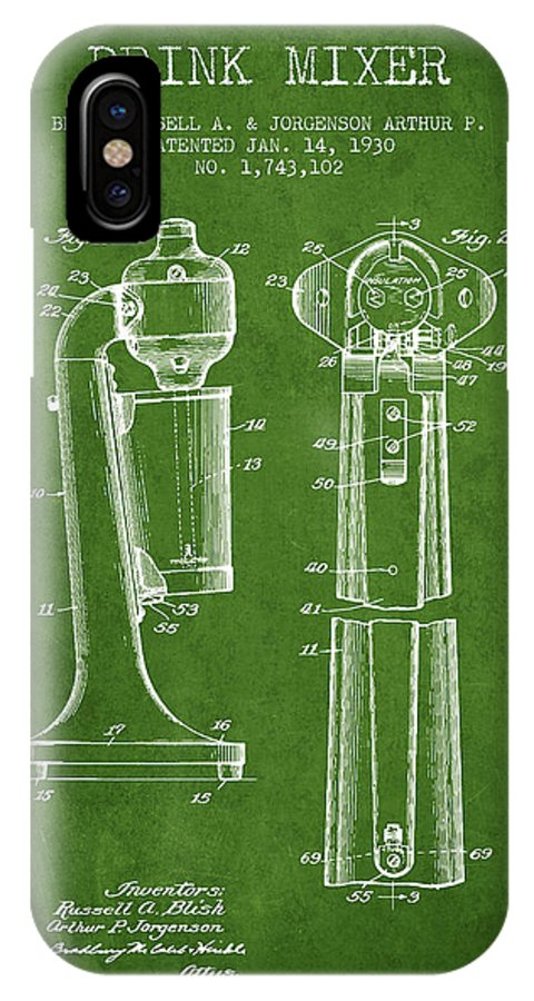 Cocktail Shaker IPhone X Case featuring the digital art Drink Mixer Patent From 1930 - Green by Aged Pixel