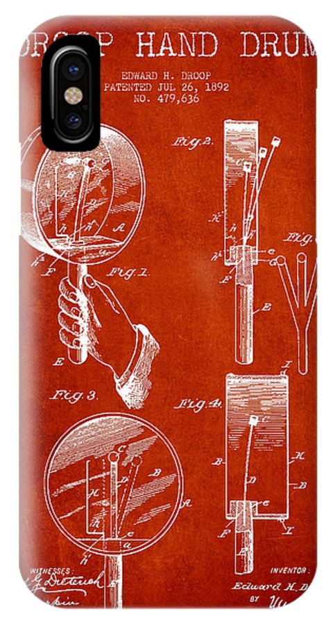 Hand Drum IPhone X / XS Case featuring the digital art Droop Hand Drum Patent Drawing From 1892 - Red by Aged Pixel