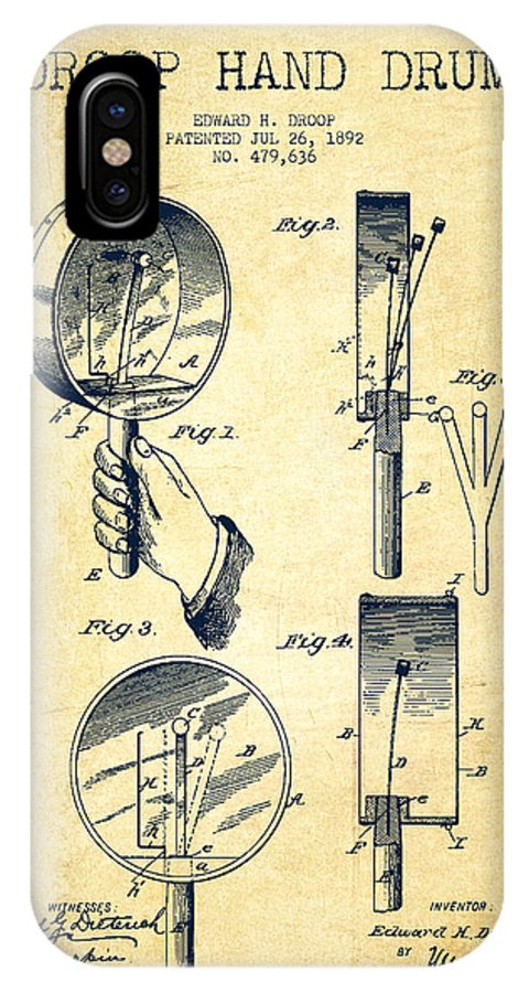 Hand Drum IPhone X / XS Case featuring the digital art Droop Hand Drum Patent Drawing From 1892 - Vintage by Aged Pixel