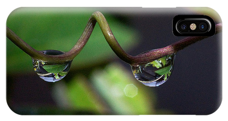 Dew IPhone X Case featuring the photograph Drop Pair by David Resnikoff