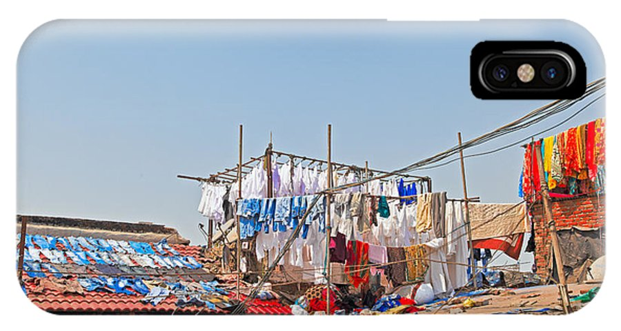 Dhobhi IPhone X Case featuring the photograph Drying Clothes Indian Style by Kantilal Patel