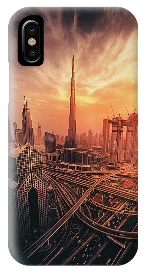 Dubai IPhone X Case featuring the photograph Dubai's Fiery Sunset by David George