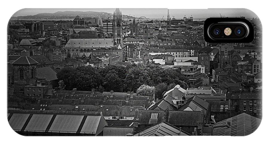 Dublin IPhone X Case featuring the photograph Dublin Ireland Cityscape Bw by Joseph Semary