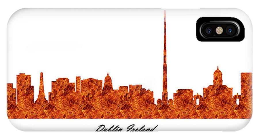 Fine Art IPhone X Case featuring the digital art Dublin Ireland Raging Fire Skyline by Gregory Murray