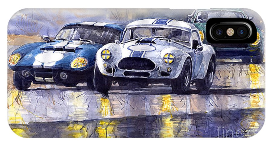 Ac Cobra IPhone X Case featuring the painting Duel Ac Cobra And Shelby Daytona Coupe 1965 by Yuriy Shevchuk