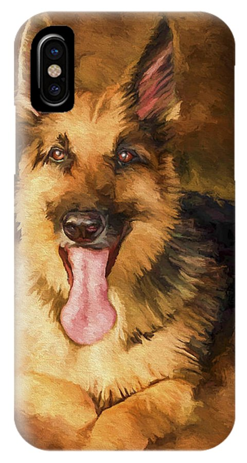 German Shepherd IPhone X Case featuring the painting Duke by David Wagner