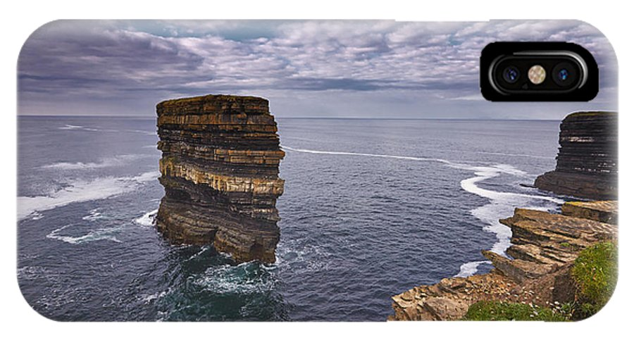 Sea; Beach; Stack; Nature; Ocean; Water; Rock; Sky; Coast; Summer; Sand; Landscape; Blue; Travel; Coastline; White; Outdoors; Stability; Green; Stone; Pebble; Island; Beauty; Sea Stacks; Symbol; Seascape; Wave; Cliff; Shore; Scenic; Surf; Rocky; Seashore; Wild; Rocks; Mayo; Ireland IPhone X Case featuring the photograph Dun Briste Downpatrick Head Co Mayo by Michael Walsh