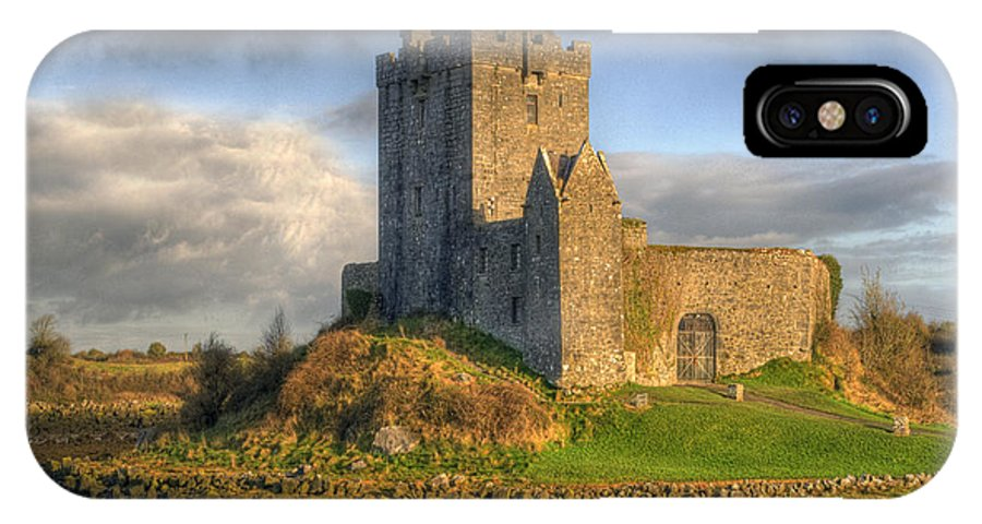 Ancient IPhone X Case featuring the photograph Dunguaire Castle With Dramatic Sky Kinvara Galway Ireland by Juli Scalzi