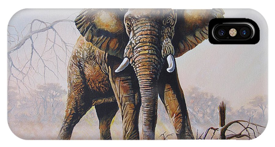 Lone Bull IPhone X Case featuring the painting Dusty Jumbo by Anthony Mwangi