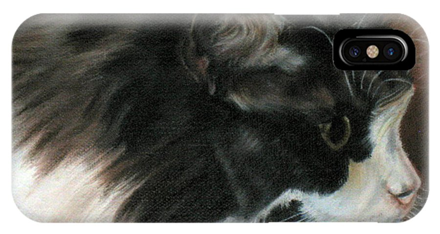 Cat IPhone X Case featuring the painting Dusty Our Handsome Norwegian Forest Kitty by LaVonne Hand