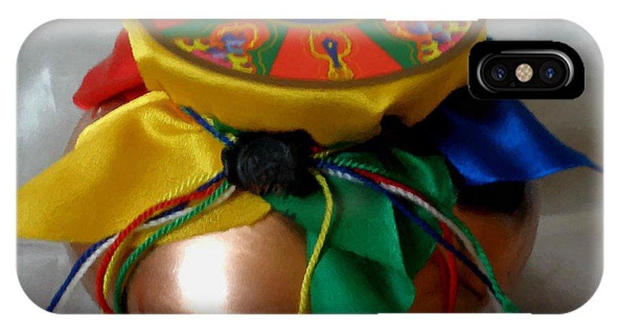 Closeup IPhone X Case featuring the painting Dzambala Fortune Vase by Jeelan Clark