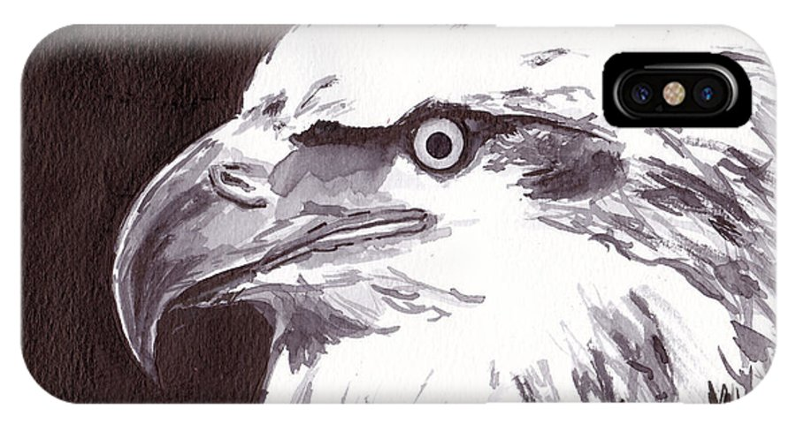Art IPhone X Case featuring the painting Eagle by Michael Rados