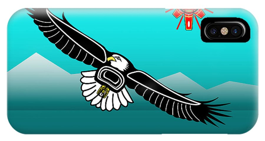 Haida Point Art IPhone X Case featuring the drawing Eagle Over Olympics by Fred Croydon