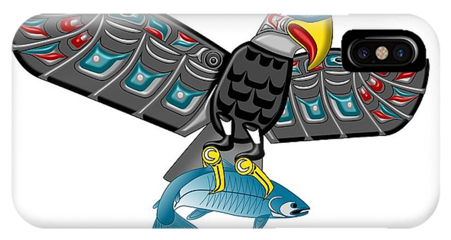 Haida Point Art IPhone X / XS Case featuring the drawing Eagle Salmon Totem by Fred Croydon