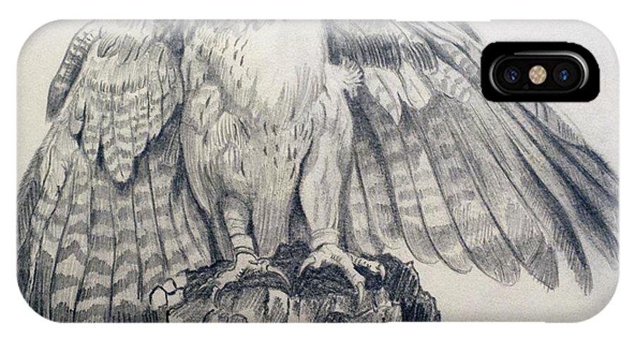 Pencil Sketch IPhone X Case featuring the painting Eagle Sketch by Prashanti Nekkanti