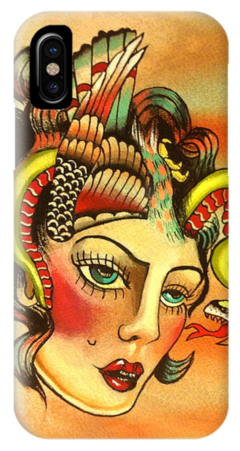 Girl IPhone X Case featuring the painting Eagle/snake Hat by Britt Kuechenmeister