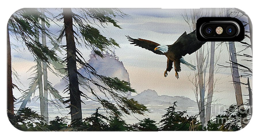 Eagle Fine Art Print IPhone X Case featuring the painting Eagle Wilderness by James Williamson