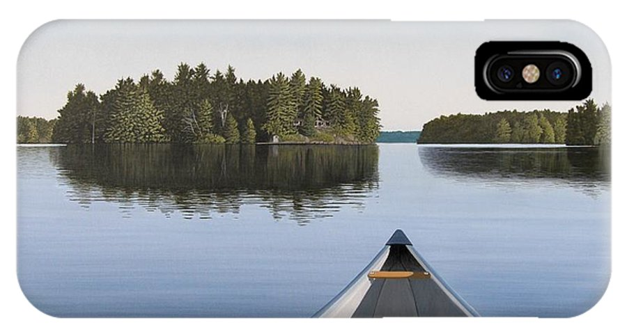 Canoe IPhone X Case featuring the painting Early Evening Paddle Aka Paddle Muskoka by Kenneth M Kirsch
