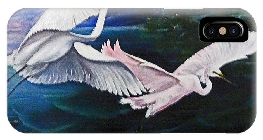 Snowy Egrets IPhone X / XS Case featuring the painting Early Flight by Karin Dawn Kelshall- Best
