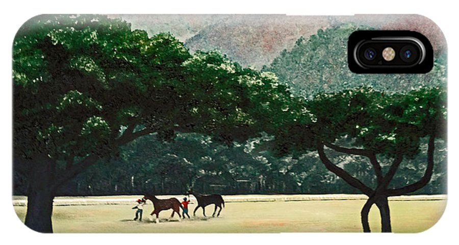 Trees IPhone X Case featuring the painting Early Morning Savannah by Karin Dawn Kelshall- Best