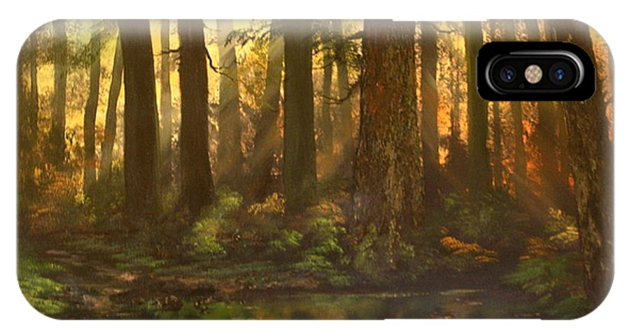 Cannock Chase IPhone X Case featuring the painting Early Morning Sun On Cannock Chase by Jean Walker