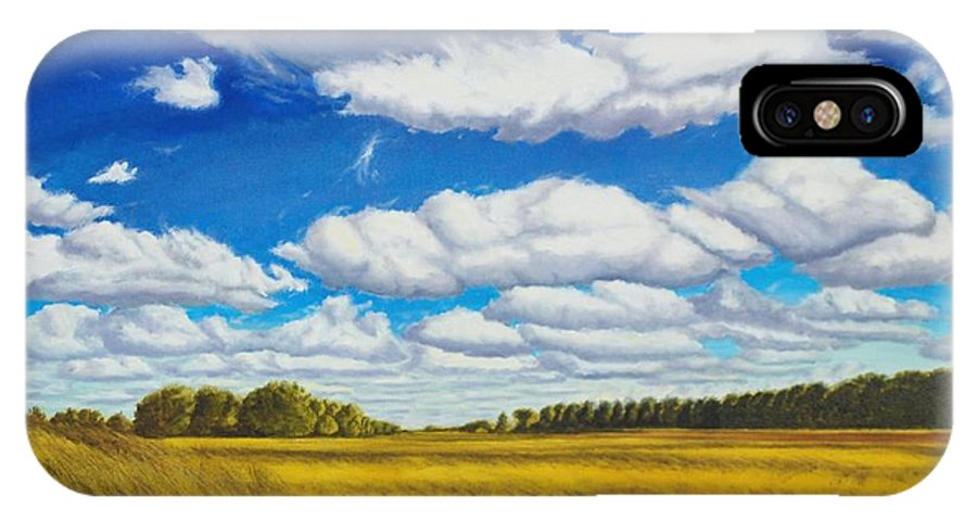 Wheat IPhone X Case featuring the painting Early Summer Clouds by Leonard Heid