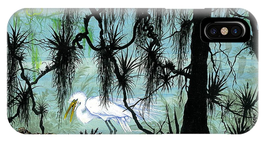 Egret IPhone X Case featuring the painting Early to Rise by Richard Brooks