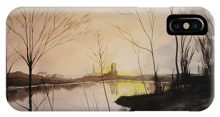 Early Winter Riverside IPhone X Case featuring the painting Early Winter Riverside by Martin Howard