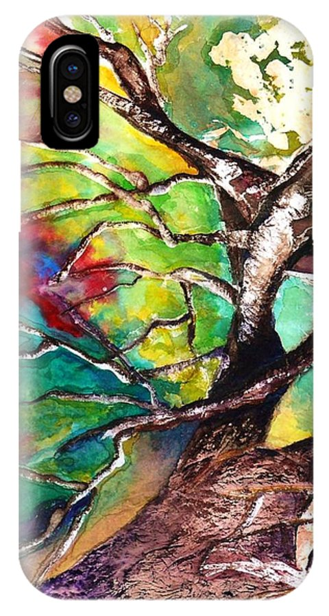 Oak Tree IPhone X Case featuring the painting Earth Angel Sold by Tracie L Hawkins