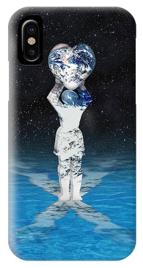 Surreal IPhone X Case featuring the digital art Earth Heart Holder by Gravityx9 Designs