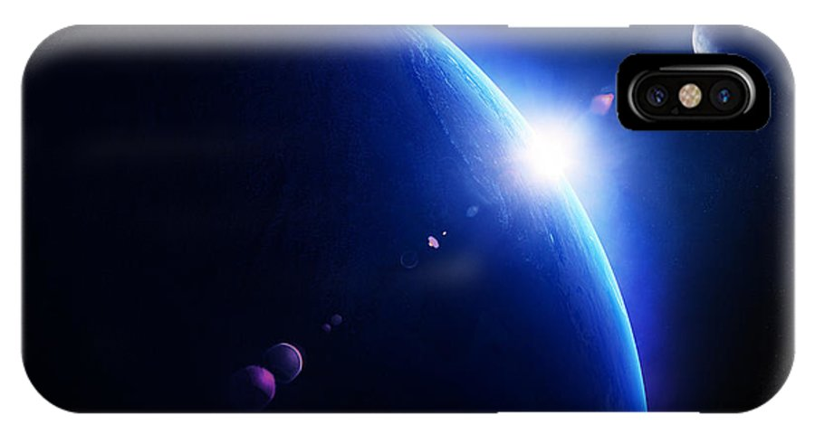 Earth IPhone X Case featuring the photograph Earth Sunrise With Moon In Space by Johan Swanepoel