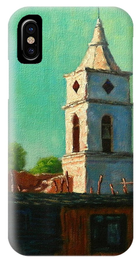 Achitecture IPhone X Case featuring the painting Earthquake Survivor, Peru Impression by Ningning Li
