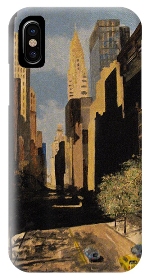 Urban IPhone X Case featuring the painting East 42nd Street by Nancie Johnson