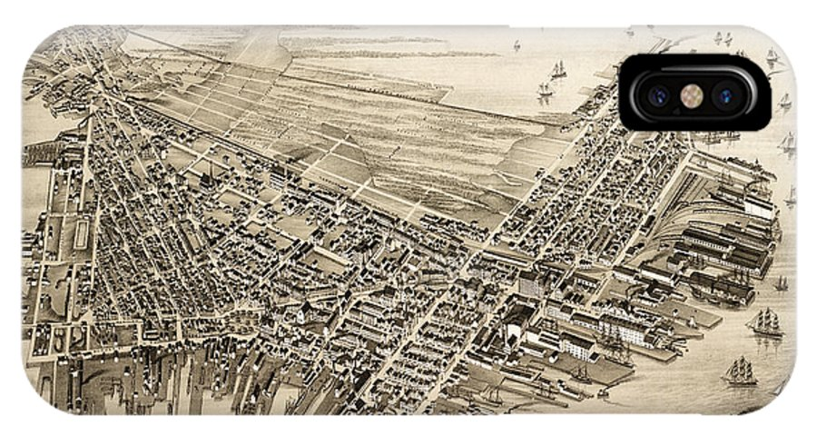 Antique Map IPhone X Case featuring the photograph East Boston 1879 by Andrew Fare