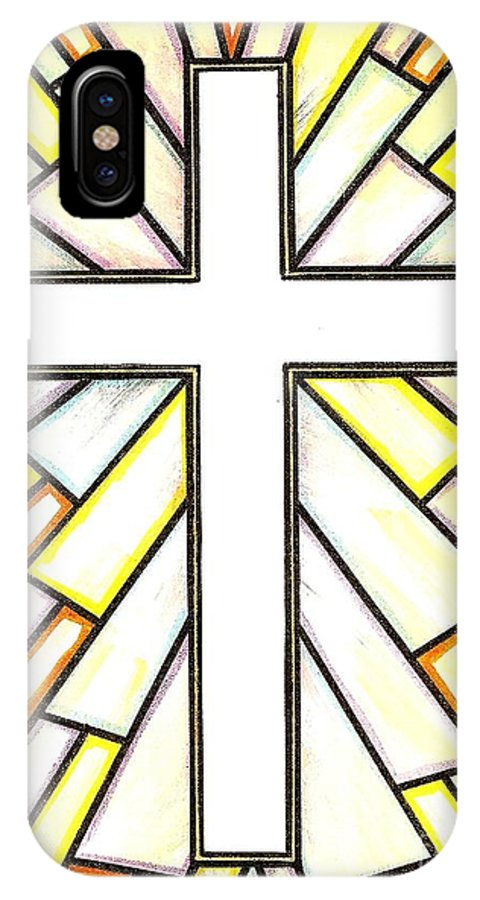 Cross IPhone X Case featuring the painting Easter Cross 3 by Jim Harris