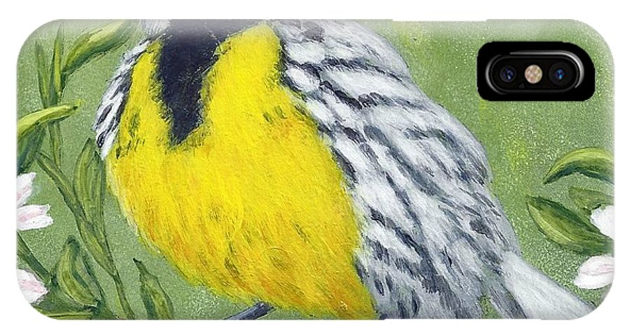 Eastern IPhone X Case featuring the painting Eastern Meadowlark by Fran Brooks