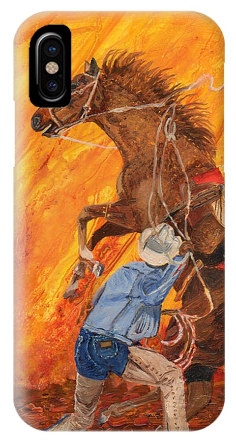 Horse IPhone X Case featuring the painting Easy Boy by Sandra Wilson