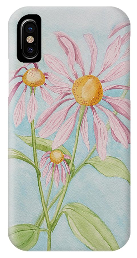 Botanical IPhone X Case featuring the painting Echinacea Flowers 2012 by Janine Boyer