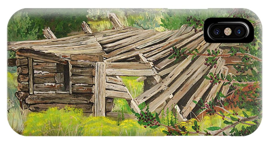 Old Broken Down Cabin IPhone X Case featuring the painting Echo's Of The Past by Ornon Shaw