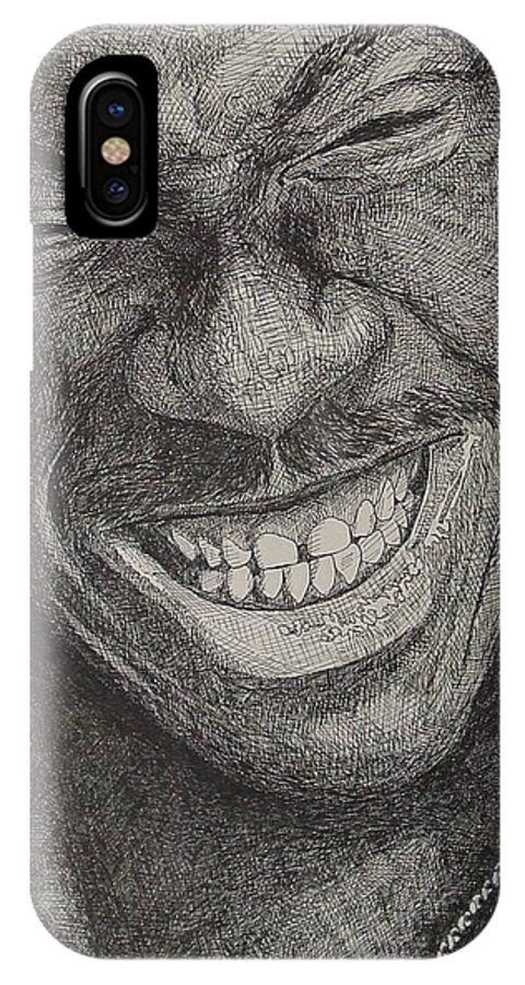 Portraiture IPhone X Case featuring the drawing Eddie by Denis Gloudeman
