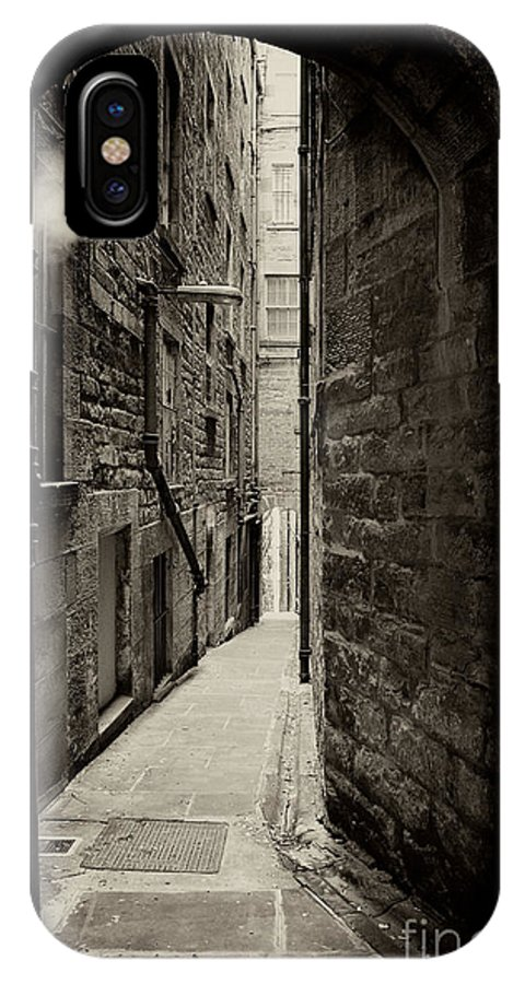 Alley IPhone X Case featuring the photograph Edinburgh Alley Sepia by Jane Rix
