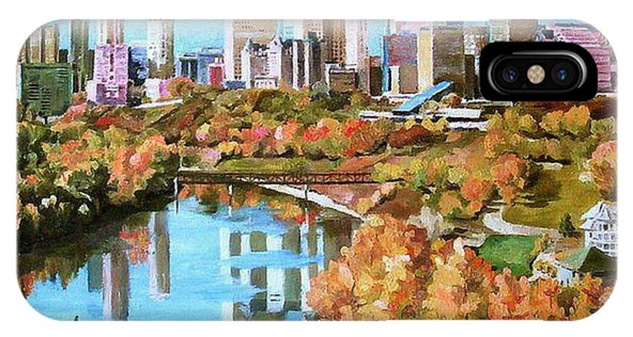 Edmonton IPhone X Case featuring the painting Edmonton In Fall by Nel Kwiatkowska