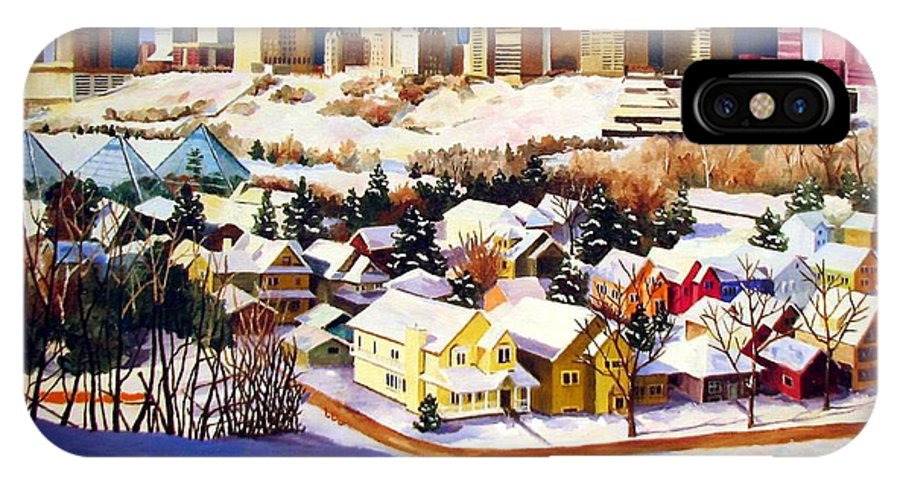 Urbanscape IPhone Case featuring the painting Edmonton In Winter by Nel Kwiatkowska